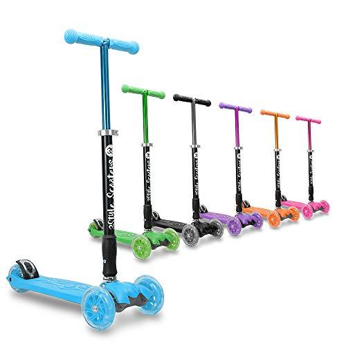3Style Scooters® RGS-2 Monopattino a 3 Ruote per Bambini - Perfetto per i Bambini con più di 5 Anni - Dotato di Ruote LED Luminose, Design Pieghevole, Maniglie Regolabili e Struttura Leggera - Blu