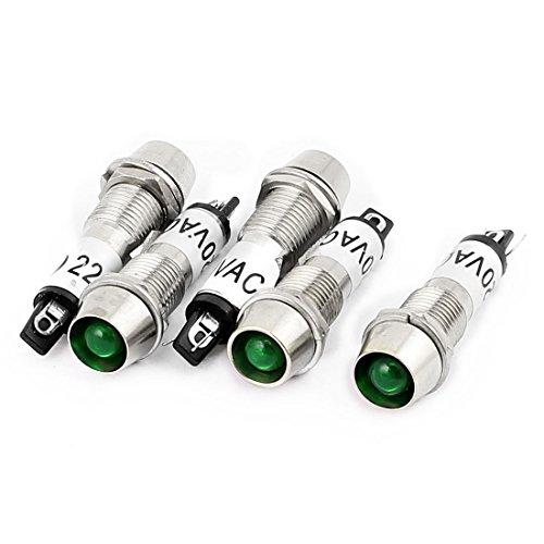 sourcingmap 5pcs AC 220V LED verte Métal pilote indicateur témoin feux bord
