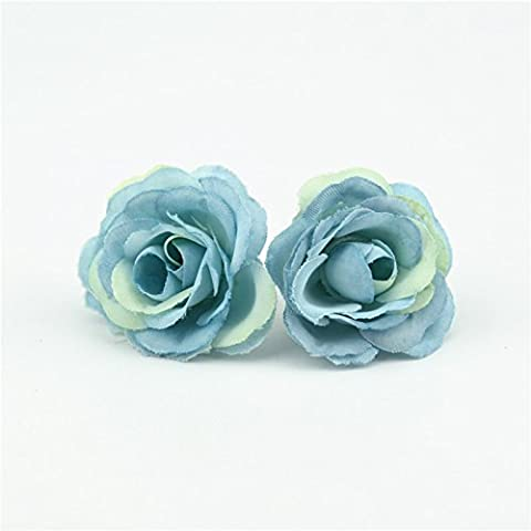 50pcs 3cm Mini Rose Fleur artificielle en tissu pour Mariage Accueil Mariage Décoration Chambre Accessoires Chaussures bleu,Fleurs en