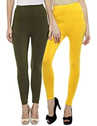 Sakhi Sang Leggings Pack of 2 : Olive Green & Yellow