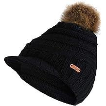 0394c030874c70 Berrose-Frau Strickmütze mit Großer Haarball Hut/Wintermütze Fellbommel  warme Skimütze Camping Hut Mütze