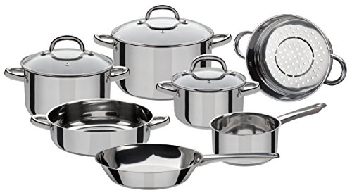 GSW Stahlwaren GmbH Stainless Steel Cookware Set, Silver/Clear, 10-Piece