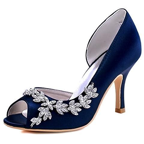 ElegantPark HP1542 Women Peep Toe High Heel Pumps Satin D'Orsay Crystals Evening Party Cocktail Court Shoes Navy Blue UK 4(EU
