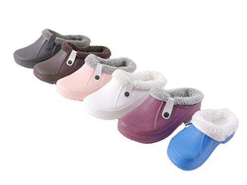 Damen Herren Kinder Clogs Pantoffel Schuhe Gartenschuhe Hausschuhe Unisex gefüttert - Farben: Blau, Berry, Weiß, Rosa, Braun, Anthrazit - Größen: 30-45 Berry