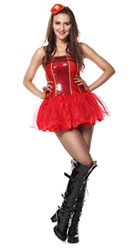 Fancy Me Damen Sexy Paillette Leuchtend Feuerwehrmann Feuerwehrmann Halloween Junggesellinnenabschied Kostüm Kleid Outfit UK 6-16 - Rot, 10-12