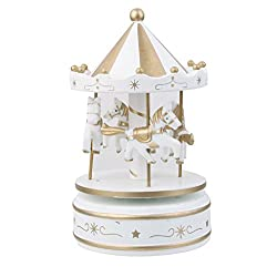 Imported Wooden Merry-Go-Round Carousel Wind Up Music Box Kids Gift-White