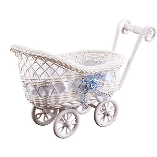 Toyvian Puppenhaus Mini Kinderwagen Deko Rattan Korb Gastgeschenke Tischdeko Schachteln für Baby Taufe Baby Dusche Baby Shower Baby Geburtstag Party Dekoration (zufällige Muster)
