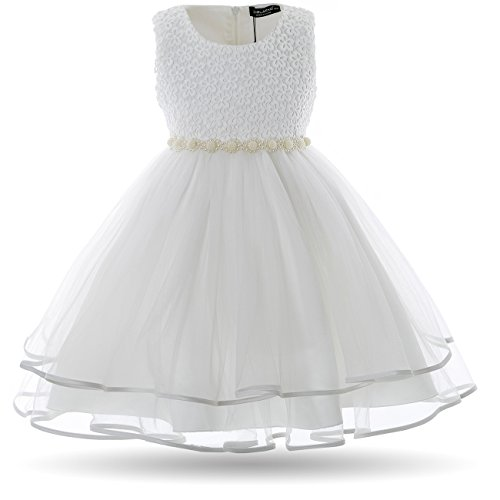 CIELARKO Vestito Bambina Principessa Abiti Bianco 8-9 Anni