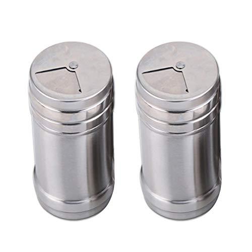 Demarkt 2 Stück Edelstahl Gewürzflasche Cruet Gewürzgläsern Gewürzkasten Küche Gewürzgläser hälter Aufbewahrungsbox für Gewürz Salz Zucker Fruchtfleisch Cruet Halter