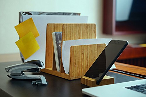 Kenley Ablagefächer Briefablage Papier-Organizer - Bambus Holz Ablage Dokumentenhalter Schreibtisch Ordnungssystem Zeitschriftenständer Zeitungshalter - 5 Fächer Ablagesystem für Büro Dokumente Briefe