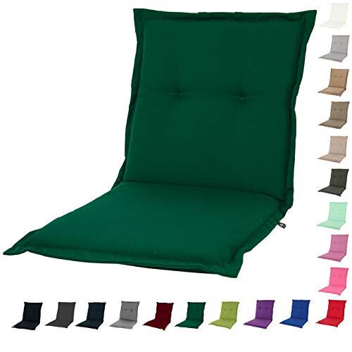 Forest Green Outdoor-stuhl (KOPU® Niedriglehner Auflage Prisma Forest Green | Auflagen für Gartenstühle | Grün Garten Kissen 100 x 50 cm | 19 Einfache Farben | Robuster Schaumstoff für zusätzlichen Komfort)