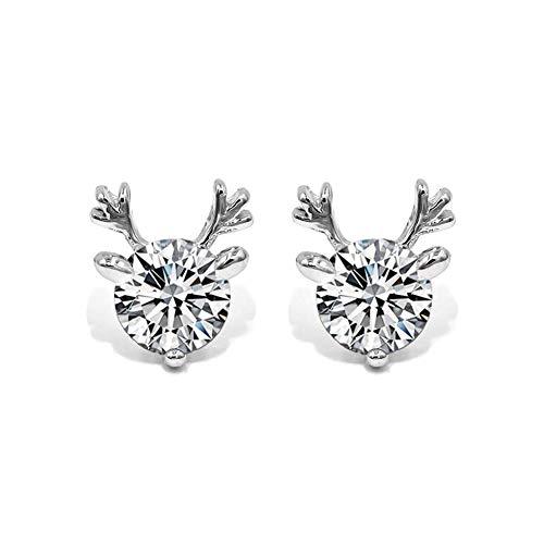 Zhng Ohrringe Frauen S925 Sterling Silber Geweih Anhänger Sweet Sens Temperament Einfache Frische Elch Ornament Weihnachten Geeignet als Geschenk -
