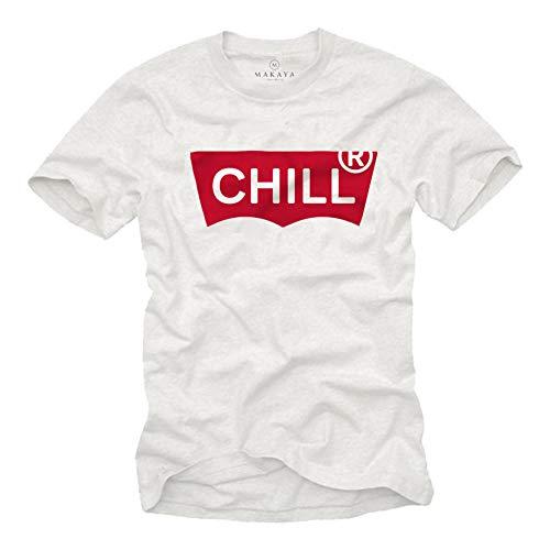 MAKAYA lustiges Herren T-Shirt mit Spruch - CHILL - Marken Parodie Kurzarm Rundhals weiß Größe L (Coole Sprüche T-shirt)