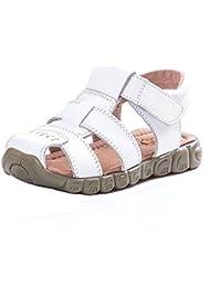 Topgrowth Sandali Bambino Ragazzo Ragazza Cuoio Suola Morbida Sneaker Casual Spiaggia Chiusa Sandali Unisex per Bambini (21, Nero)