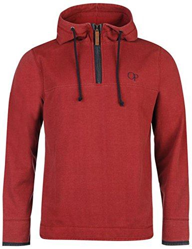 mens-quarter-zip-pique-hooded-sweater-top-large-red