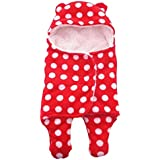 BRANDONN Newborn Baby Blanket Cum Envelope Jumpin Baby Wrapper Sleeping Bag Cum Car Carry Bag With Hood Cap Polka Printed Ultra Soft Blanket For Babies(Envelope Red Polka)