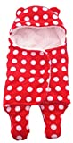 #9: BRANDONN Newborn Baby Blanket Cum Envelope Jumpin Baby Wrapper Sleeping Bag Cum Car Carry Bag With Hood Cap Polka Printed Ultra Soft Blanket For Babies(Envelope Red Polka)