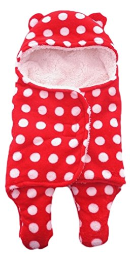 BRANDONN Newborn Baby Blanket Cum Envelope Jumpin Baby Wrapper Sleeping Bag Cum Car Carry Bag With Hood Cap Polka Printed Ultra Soft Blanket For Babies(Envelope Red Polka)