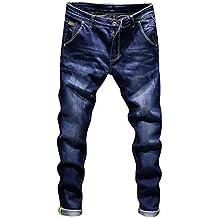 d5573b6747d7dd Elecenty Pantaloni casual da uomo Moda autunno denim da uomo Pantaloni  jeans lavati vintage da lavoro