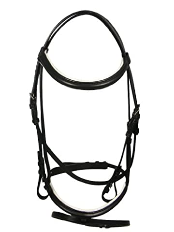 BOH Padded Horse Riding Showing Leather Snaffle Bridle & Reins Sizes White Pony