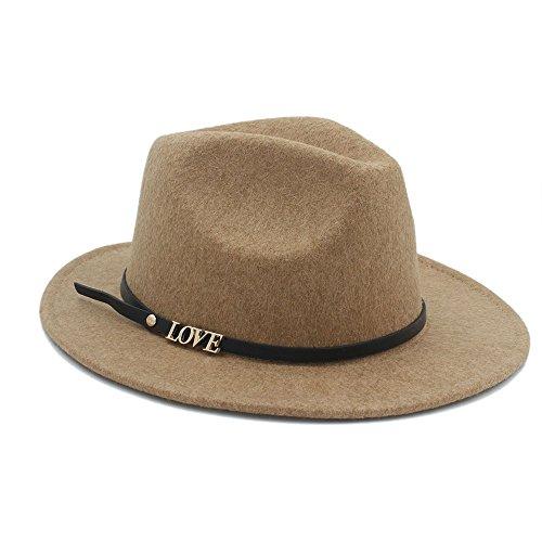 MMD-women's hat Mode 100% Wolle Top Hut Auturmn Frauen männer Breiter Krempe Liebesbrief Fedora Hut Für Elegante Laday Gentleman Panama Sombrero weich (Farbe : 3, Größe : 57-58 cm) - Sombrero Panama