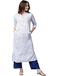 Jaipur Kurti Women White & Blue Printed Rayon Kurta With Palazzos