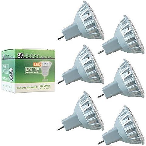 6x Evolution Pro Line | MR11 2W 200 lúmenes LED | lámpara 30° AC/DC 12V blanco cálido