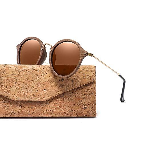 TJTYJ Ultraleichte Damen Herren Polarisierte Sonnenbrille Runder Holzrahmen Cr39 LinseBraunes Objektiv Mit Etui
