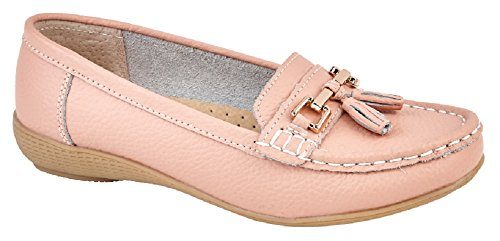 Ladies Nautical Leather Smart Loafer Tassel Moccasin Flat Slip On Comfort Shoe Size 3-8 (UK 6, Blush)