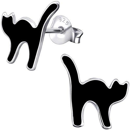 JAYARE Kinder-Ohrstecker schwarzer Kater aus 925 Sterling Silber 11 mm schwarz Halloween Mädchen-Ohrringe im Schmuck-Etui