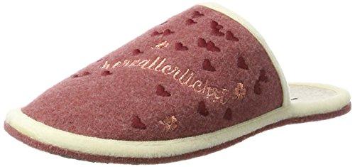 Adelheid Damen Herzallerliebst Filzpantoffel Pantoffeln, Pink (Altrosa), 42/43 EU