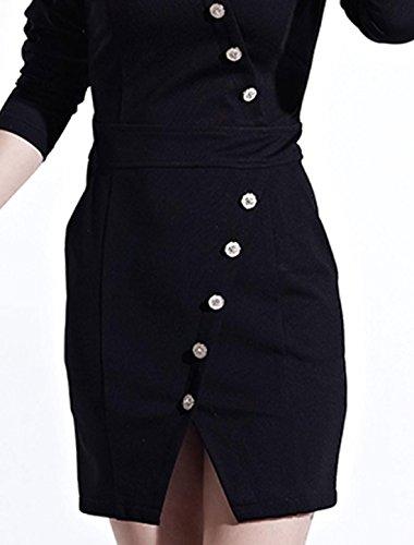 Col Mao Femme Deux poches avant Trench robe Noir - Noir