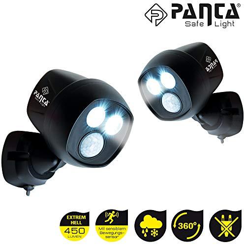 Panta Safe Light 2 Stück LED Sicherheitslicht, Außenleuchte Wandleuchte mit Bewegungssensor - Lichtsensor, kabellos für innen und außen, IP65 | Das Original aus dem TV