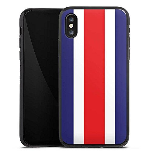 Apple iPhone X Silikon Hülle Case Schutzhülle Costa Rica Flagge Fußball Silikon Case schwarz