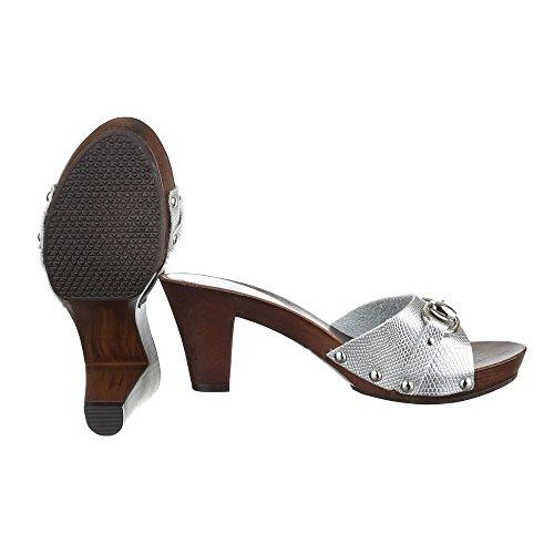 Pantoletten Damen Schuhe Jazz & Modern Pump Nieten Besetzte Ital-Design Sandalen / Sandaletten Silber