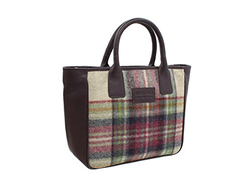 Mala Leather Collection ABERTWEED Sac Grab en Cuir et en Tweed 728_40 Marine Prune