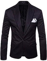 Kasen Herren Revers Streifen Sakko Lange Ärmel Button Slim Fit Blazer Anzug  Mantel Jacke 385c8835c6