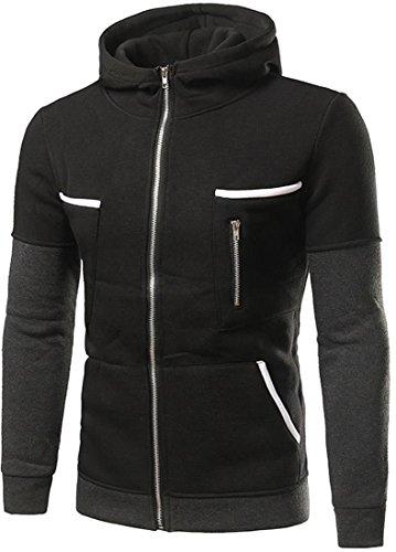 jeansian Casuale Uomo Giacca Zipper Felpa con Cappuccio Della Tuta Sportiva Hoodie Jacket 88J4 Black