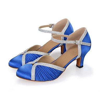 Scarpe da ballo-Personalizzabile-Da donna-Balli latino-americani-Tacco a rocchetto-Finta pelle-Blu / Marrone / Rosso Brown