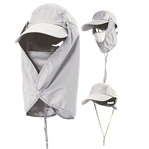 Amorar Unisex Sonnenhut mit UV Schutz -Sommerhut Outdoor Sonnenschutz Cap mit Abnehmbarer Maske und Nackenschutz Schnell Trocken Fischerhut Netz Atmungsaktiv Hüte