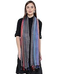 Weavers Villa Women's Pure Viscose Bold Stripes Stole (RT102-2, Multicolour.Medium)