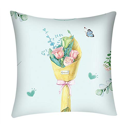 WWricotta Valentine's Day Print Pillow Case Polyester Sofa Car Cushion Cover Home Decor(Mehrfarbig,L) -