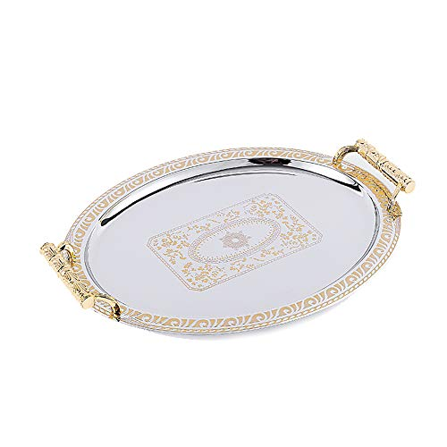 1DFAUL Metall Tablett für Esszimmer Frühstück Couchtisch Küche Buffet Geburtstagsfeier mit Griff Edelstahl Haushalt Gold Oval Tablett Snack Tablett Lagerung Wein Tablett,L -