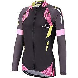 SXSHUN Mujeres Maillot de Ciclismo Camiseta de Manga Larga de Bicicleta Pantalones Largos Cojín 3D Transpirable Otoño, Lunares Rosa Camiseta, XXL (Etiqueta: XXXL)