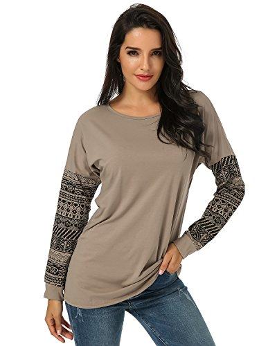 Auxo Camisetas Mujer con Dibujos Sudadera Mangas Larga Cuello Redondo Impresión T Shirt Tee Camisa Casual Pullover Otoño Ocasional