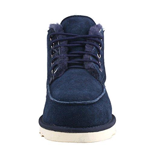 Shenduo Uomo Slip Boots Short Winter Boots Stivali In Pelle D5788 Blu