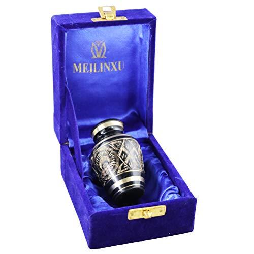 M MEILINXU Funeral urna de Recuerdos, Mini cremación Urnas para Cenizas Humanos Adultos - Fabricado en latón y grabada a Mano - (Anillos de Amor, urna de bebé