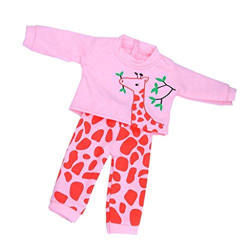 MagiDeal Langarm Pullover Kleidung mit Giraffe Muster + lange Hosen Satz Puppenzubehör für 18 Zoll Puppen