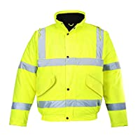 PROSTYLE SPORTS Hi Viz Waterproof Bomber Jacket Thermal Hi Vis Cycling Work Contractor Coat