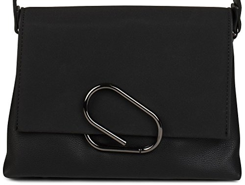 styleBREAKER borsa a tracolla con busta in scamosciato e fermaglio, pochette, borsa, donna 02012209, colore:Nero Nero